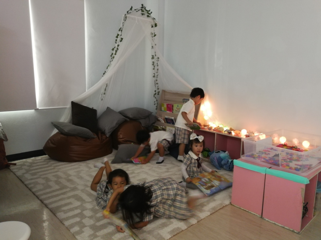 Students in the welcoming space